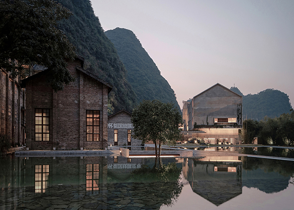 Refunctionalisation of the Sugar Mill in Guilin, designed by Vector Architects: Reflecting pond, 2017 (courtesy: Vector Architects; copyright: S. Shengliang). AGATHÓN 09 | 2021