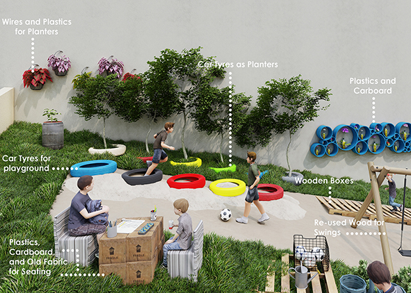 Visualizations of rehabilitated community spaces illustrating the use of recycled and reused materials (credit: N. Marji, J. Shawash and N. Marji, 2021). AGATHÓN 09 | 2021