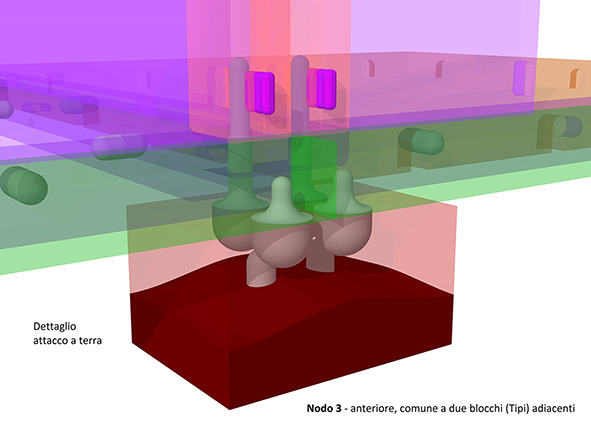 Compact perspective view Node 3, with transparent surfaces
