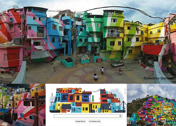 Colectivo Germen, Boa Mistura (2016), Pachuca Medellín and Rio de Janeiro: reactivation of the Favelas with colours painted by the inhabitants through a guide map. AGATHÒN 06 | 2019