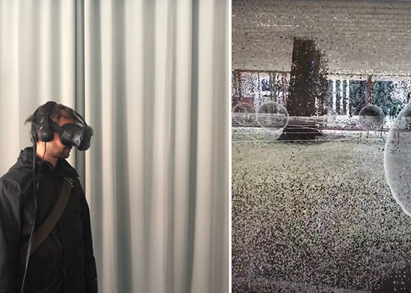 User inside of the Virtual Preservation experience of Case Study 3, and Image of Point Cloud (credit: K. Reaver, 2019). AGATHÒN 06 | 2019