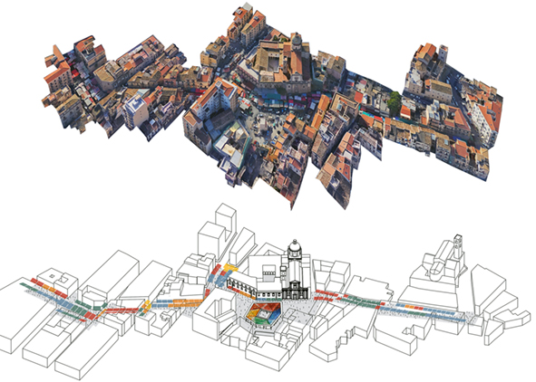 Excerpt of the aerial photo of the present status and axonometric view of the project of the Piazza Carmine, and the new Covered Market in Ballarò (credit: LabCity Research Group, 2019). AGATHÓN 07 | 2020