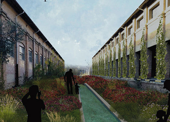 The open space and the vegetation that reappropriates it, among the regenerated buildings (credit: E. Al Smaily, C. Amato, C. Ciambellotti, O. Kararmaz, A. Leonìdou, D. Manzo, A. Miecchi, Y. Ouyang, A. Rosa and J. Wilches, 2019). AGATHÓN 08 | 2020