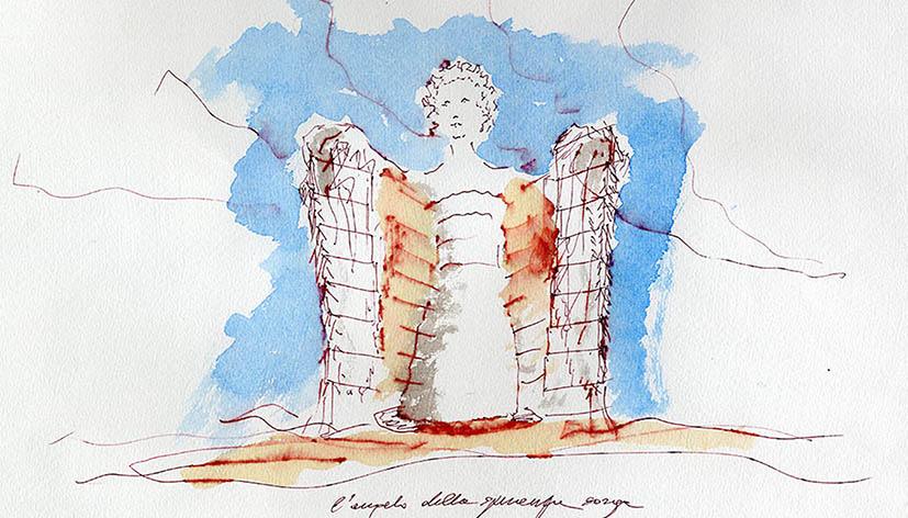 Paolo Portoghesi, la Torre dell'Angelo: schizzi di studio (2008)
