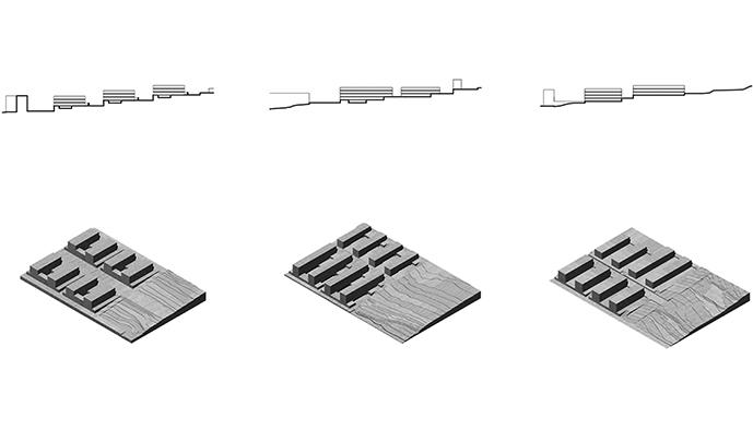 Progetti per Monteruscello, modelli tridimensionali degli aggregati e degli elementi urbani che compongono gli insediamenti