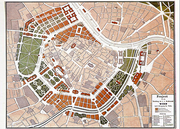Plan of the ringstrassezone, project presented at the competition of 1858 by E. van der Nüll and A. sicard von sicardsburg (Wurzer, 1986)