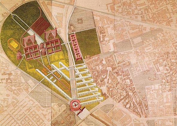 """Guido Canella and Antonio Acuto, Project for the Bovisa area, exhibition """"Le città immaginate"""", 17th Triennale of Milan (1987)"""