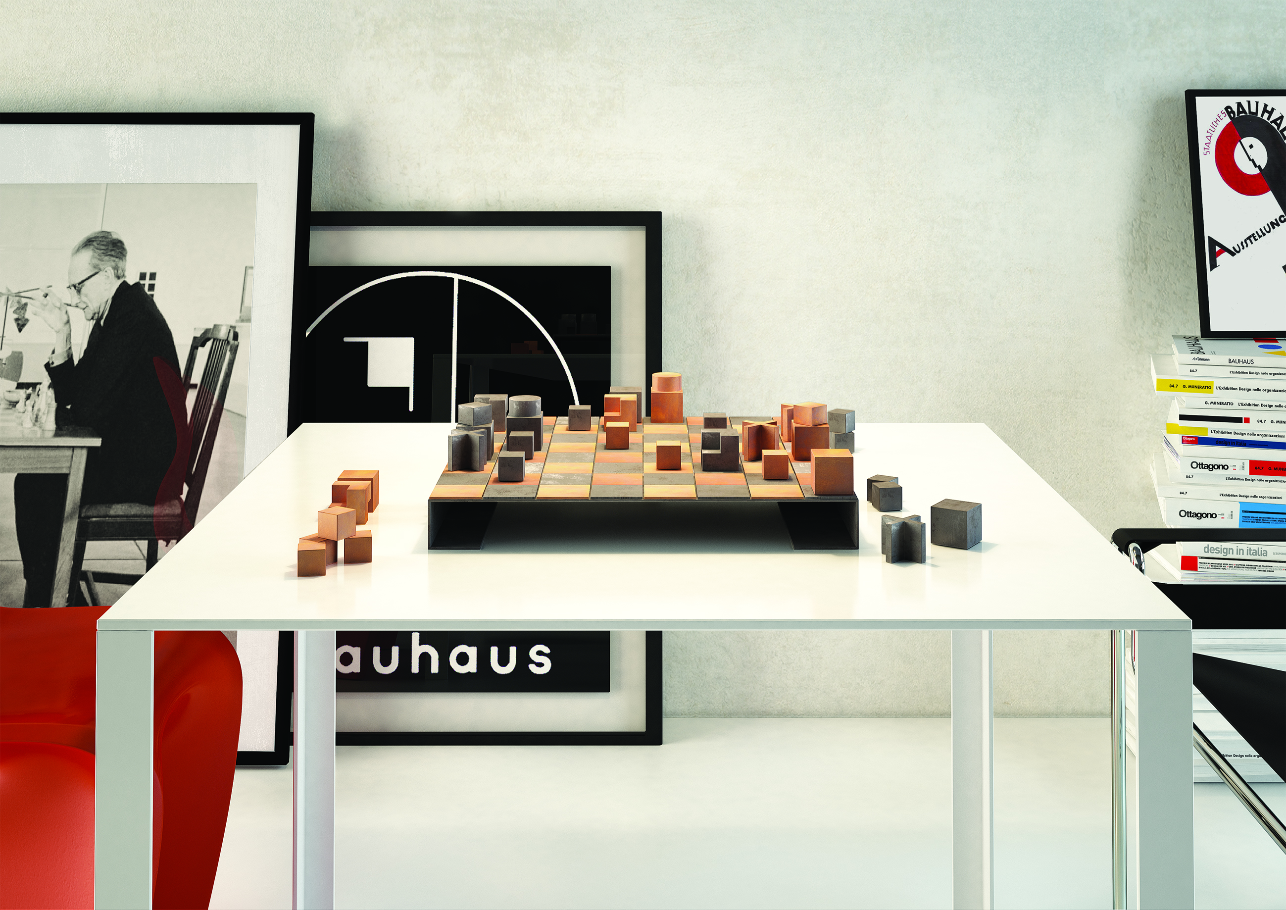 J. Hartwig, Chessboard of Bauhaus, 1924, redesigned in metal by S. D'Amato, BNP, in 2016 (render by S. Albano)